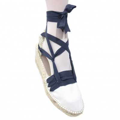 Espadrilles Wedge High Tres Vetes Navy Blue