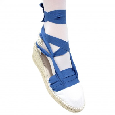 Espadrille Wedge High Tres Vetes Electric Blue