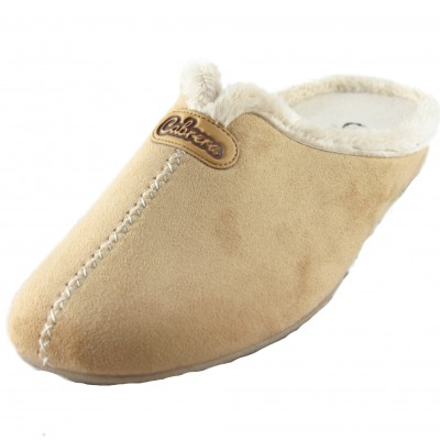 Cabrera 3001 - Soft Hairy Girl House Slippers With Central Sewing Imitation Leather Light Brown
