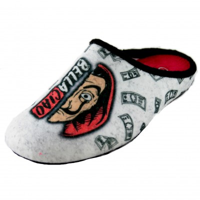Cabrera 3041 - Woman House Slippers La Casa de Papel with Dali and Text Bella Ciao