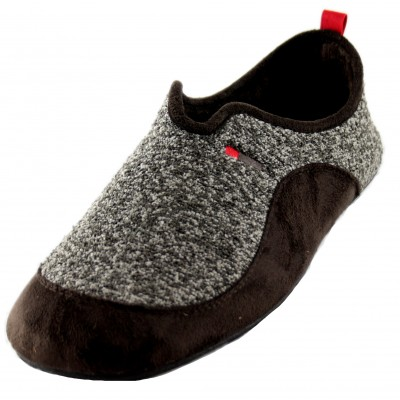 Cabrera 3504 - Men's Brown Closed House Slippers with Heather Texture
