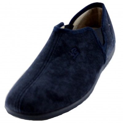 Vulcabicha 4622 - Men's Closed Closed House Slippers with Side Rubber in Black and Navy Blue Colors