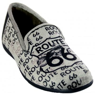 KonPas 502 - Soft Closed Boy's House Slippers with Route 66 Text