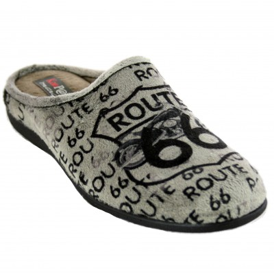 KonPas 511 - Soft Open Boy's House Slippers with Route 66 Text