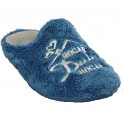 KonPas 7521- Blue House Slippers for Girls with Text Home Sweet Home