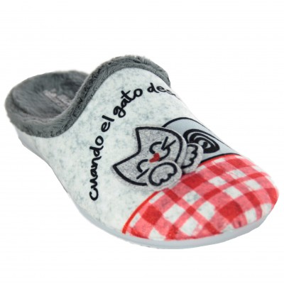 Vulcabicha 1362 - Open House Slippers for Girl with Cat and Mouse in Felt