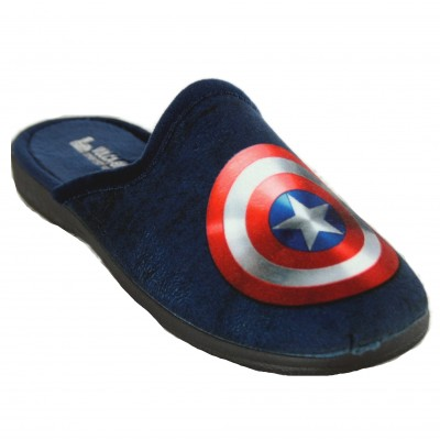 Vulcabicha 1909 - Navy Blue Open Youth House Slippers with Captain America Shield