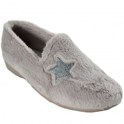 Cabrera 4334 - Soft Gray Closed Girl House Slippers with Shining Star