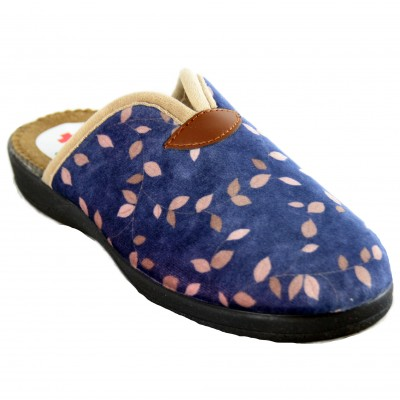 Ruiz y Gallego 840 Goya - Blue and Floral Woman House Slippers With Wedge