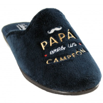 "Cabrera 9523 - Men House Slippers Navy Blue ""Daddy You Are A Champion"" in Spanish"