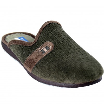 Muro 9811 - Men's Brown Slippers With Classic Squares