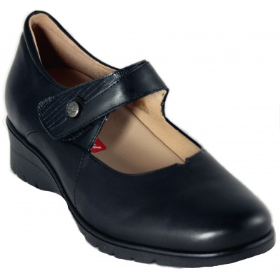 Pie Santo 195953 - Classic Mary Janes in smooth black leather with removable insole and Velcro closure
