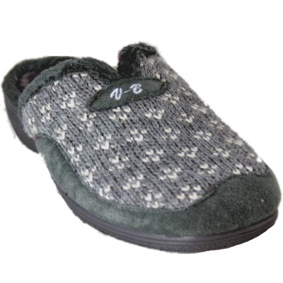 Vulca Bicha 4742 - Gray House Slippers With Gray Knit Fabric And Wedge