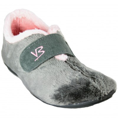 Vulcabicha 4301 - House Slippers Closed With Velcro Soft Furry Gray Removable Insole