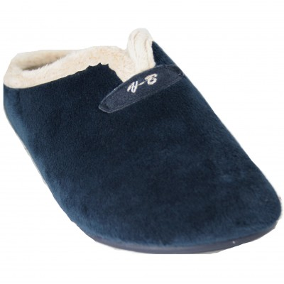 Vulcabicha 4860 - Soft Furry Smooth Uncovered House Slippers In Navy Blue And Gray