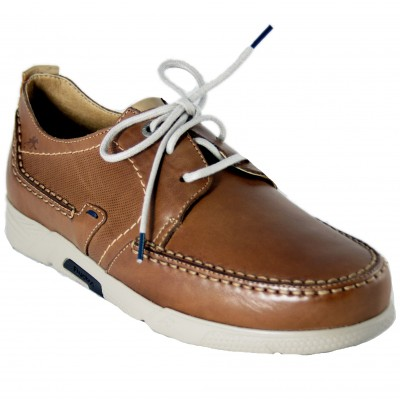 Fluchos F0435 - Classic Boat Shoes for Men in Brown with Laces