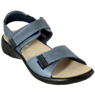 Romika Ibiza 109 - Blue Leather Women's Sandals with Velcro Closure and Removable Insole
