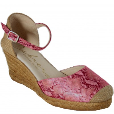 Cabrera 5V78 - Espadrilles With High Heel and Red Snakeskin Buckle