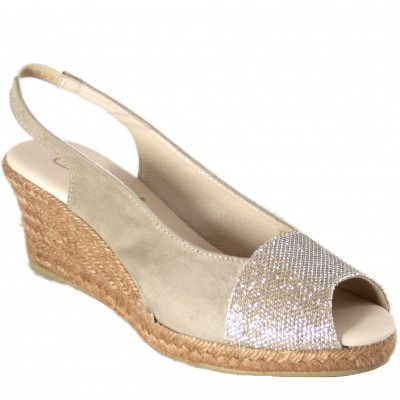 Cabrera 79-5 - Gold Open Front Espadrilles With Rubber Back