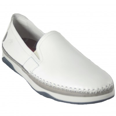 Fluchos F0810 - Nautical White Leather Espadrille Moccasins With Removable Insole