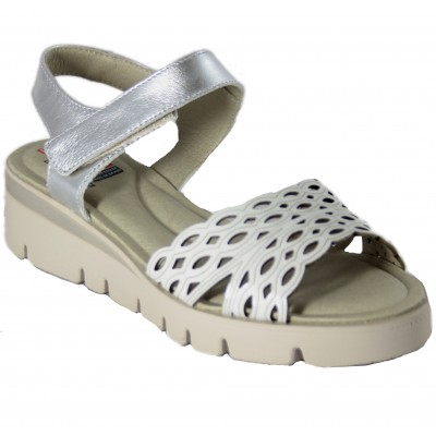Fluchos TEXA F0834 - White And Silver Sandals With Small Wedge And Platform With Velcro