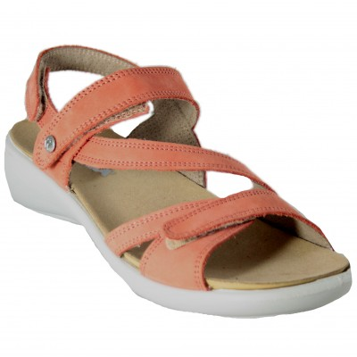 Romika Ibiza 105 - Sporty Sandals For Women With Coral Velcro Closures