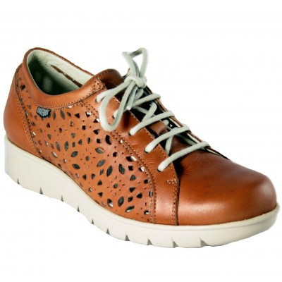 On Foot 15602 - Closed Shoes With Brown Leather Holes And Laces With Removable Insole