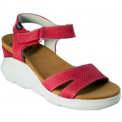 On Foot 80103 - Red Leather Sandals With High Wedge And Velcro Closure Platform