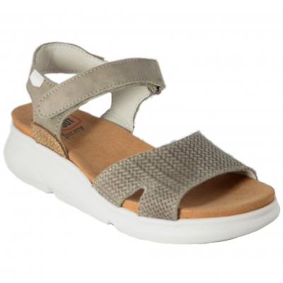 On Foot 90106 - Ash Brown Leather Sandals With Velcro Closure