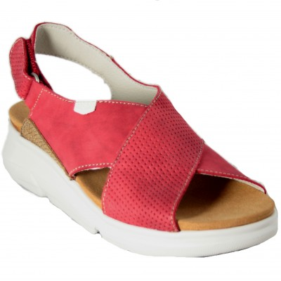 On Foot 90107 - Red Leather Open Watermelons With White Sole And Back Velcro Closure