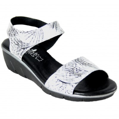 Valeria's 7010 - Black Engraved White Leather Sandals With Adaptable Velcro And Small Wedge