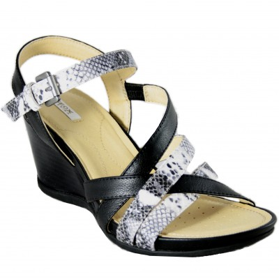 Geox Dorotha - Black Leather High Heel Sandals With Snake Engraved Straps And Buckle Closure