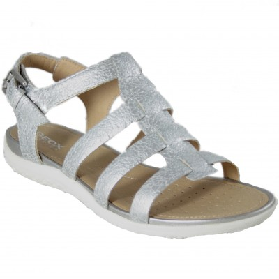 Geox Sand Vega D72R6A - Roman Type Sandals In Shiny Silver Leather And Buckle Closure