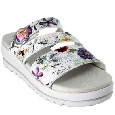 Jana 27266 - Ultra Light Recyclable Natural Fabric Velcro Open Sandals With Floral Print