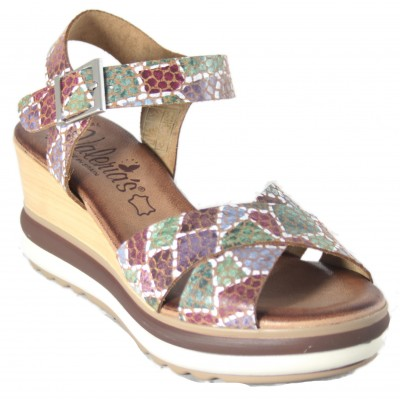 Valeria's 7232 - High Wedge Sandals With Leather Platform With Color Mosaic And Buckle Closure