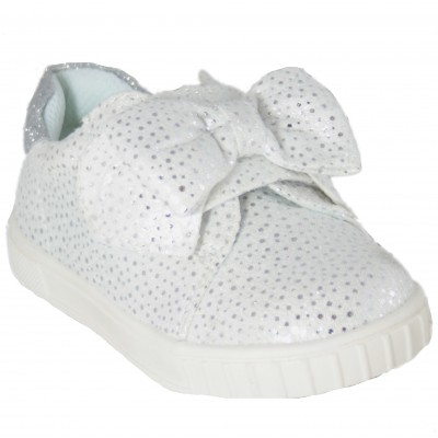 Chicco Colomba - White Canvas Shoes With Rhinestones And Large Bow Removable Insole Bandos