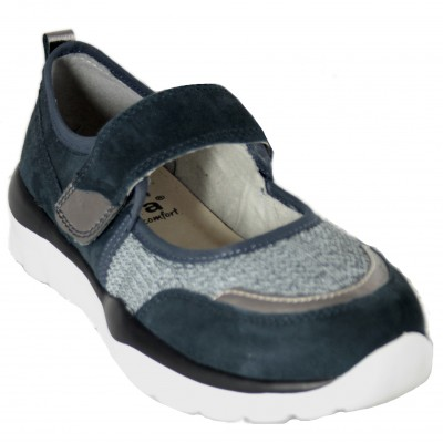 Jana 24602 - Mary Janes Canvas Navy Blue Velcro And Removable Insole