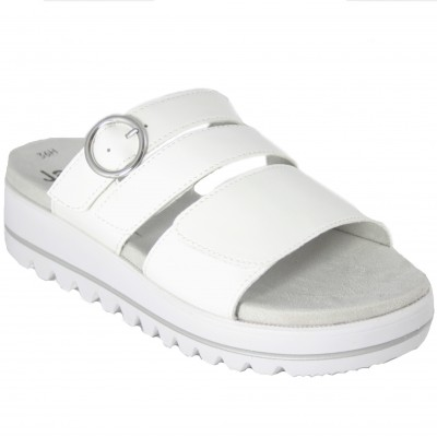 Jana 27265 - Adjustable White Open Sandals With Lightweight Recyclable Fabric Velcro