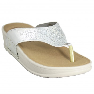 Fly Flot 38E60A2 - White Leather Open Toe Sandals With Sparkles Comfortable And Light