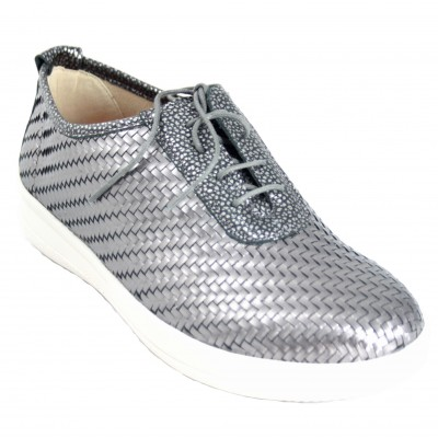 Doctor Cutillas 50201 - Silver Braided Leather Closed Shoes With Very Light Laces Removable Insole