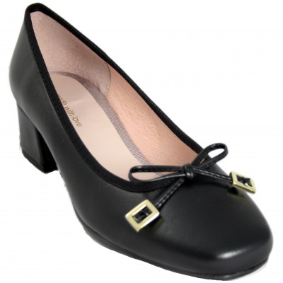 Celia Company 1501 - Classic Black Leather Pump With Chunky Heel And Gold Detail Bow