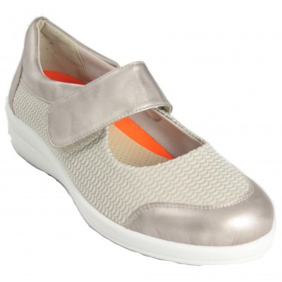 Doctor Cutillas 43625 - Beig Lycra Mary Janes With Velcro Extendable Insole