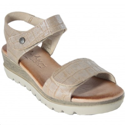Valeria's 7170 - Adaptable Leather Low Wedge Sandals With Velcro Front And Back Bright Beige