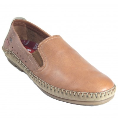 Fluchos F1174 - Men's Classic Brown Leather Moccasin Flexible Sole Removable Insole And Side Rubbers