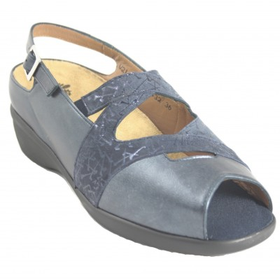 Alviflex 8432 - Navy Blue Leather Sandals With Removable Insole And Buckle