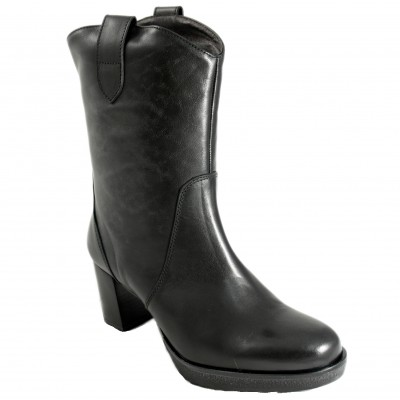 Pertini S7428 - Leather Boots With Heel Detail Side Handle And Zip In Gray Suede And Black Leather