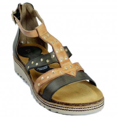 Dorking D8539 - Khaki Brown Leather Roman Sandals With Back Zip