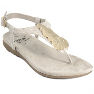 Jana 28101 - Light Beige Leather Sandals With Flat Gold Metallic Details With Buckle