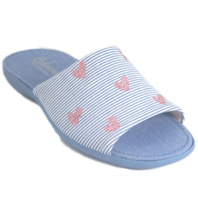 Cabrera 4352 - Blue cotton flat sneakers with white stripes and pink glitter hearts