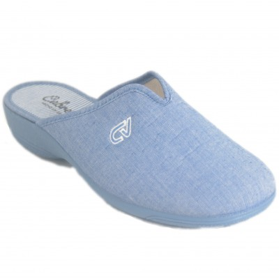 Cabrera 5351 - Blue Cotton Closed Toe Summer Slippers With Heel